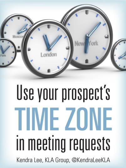 Use your prospects time zone in meeting requests