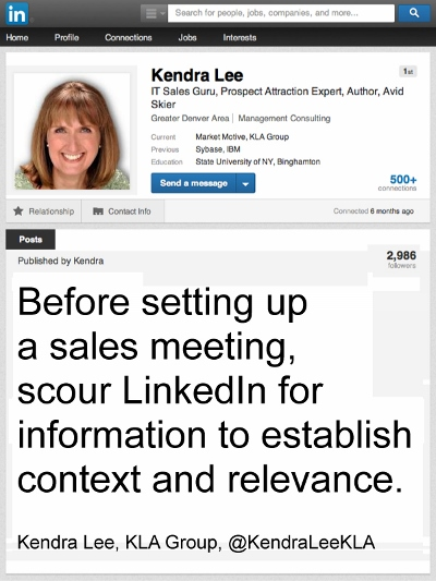 Before setting up a sales meeting, scour LinkedIn
